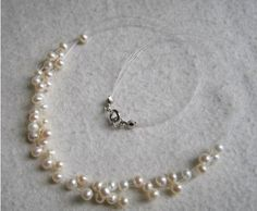 XaXe.com - 6 rows bridal necklace - white freshwater pearl