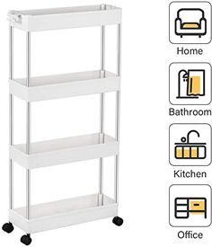 Amazon.com: SPACEKEEPER 4 Tier Slim Storage Cart Mobile Shelving Unit Organizer Slide Out Storage Rolling Utility Cart Tower Rack for Kitchen Bathroom Laundry Narrow Places, Plastic & Stainless Steel, White: Office Products Stainless Steel Shelving, Steel Shelving Unit, Shelving Units, Bathroom Cart, Laundry In Bathroom, White Bathroom, Pedestal Sink Storage, White Kitchen Furniture, Mobile Shelving