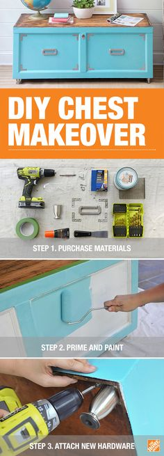 In this simple furniture makeover, we show you how to renew an old wooden chest with paint and new cabinet hardware. Click-through to The Home Depot Blog for furniture makeover inspiration and a detailed how-to.