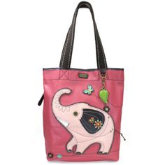 "Chala Everyday Tote. Chic, fun, and practical. Features the Elephant with detailed stitches and metal button eyes Magnetic snap closure Patterned fabric lining with slide pockets & zippered pocketMaterials Used: Synthetic leather/ Textured faux leather Approx. Measurements: 13.5"" x 3.5"" x 15"" Handles drop: 9"" Designed in California, USA Made in China Colors may not be exactly as pictured. Inside lining patterns may vary"
