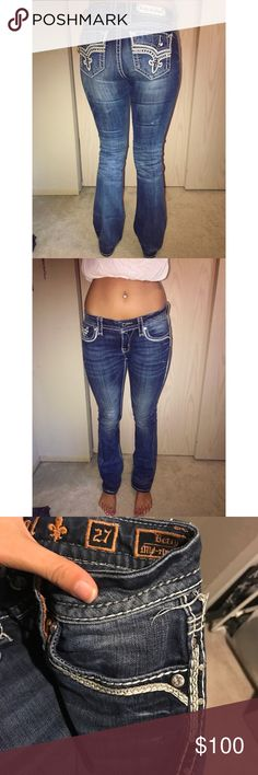"Rock Revival Demin - size 27 - mid rise Rock Revival Demin - size 27 - mid rise - these are my favorite jeans but I never wear them as I'm not a denim girl haha - I'm 5'9"" Rock Revival Jeans Boot Cut"