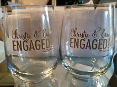 Engagement Engraved Wine Glasses