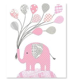 Gray and Pink Elephant Nursery Wall Art Balloons Girl's Room Decor Baby Shower Gift Toddler Sweet 8 x 10 or 11 x 14 Print Pink Elephant Nursery, Elephant Balloon, Elephant Quilt, Elephant Applique, Elephant Theme, Elephant Baby Showers, Elephant Elephant, Baby Girl Shower Themes, Girl Baby Shower Decorations