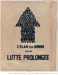 L'atelier populaire des Beaux-arts: L'élan est donné pour une lutte prolongée, Mai 68. Affiche.