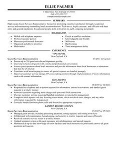 guest service representative resume example hotel hospitality