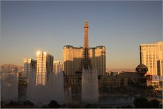 Eiffel Tower Paris with fountains of the Bellagio Casino in front - Las Vegas, Nevada, USA