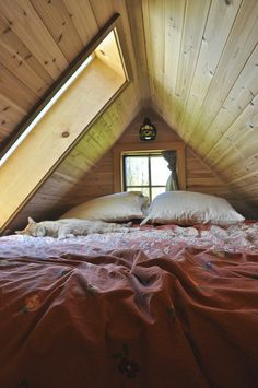 "tiny house ""bedroom"" - I LOVE the big picture window...  -  To connect with us, and our community of people from Australia and around the world, learning how to live large in small places, visit us at www.Facebook.com/TinyHousesAustralia"