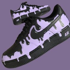 Nike Air Force Ones (Purple Drip) by stickymurphycustoms Cute Nike Shoes, Cute Sneakers, Nike Flats, Black Shoes Sneakers, Black Nike Shoes, Nike Shoes Air Force, Nike Air Force Ones, Jordan Shoes Girls, Girls Shoes