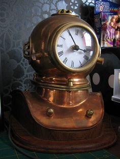 Diver's helmet turned clock