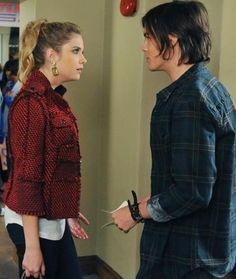 Hanna Caleb- Pretty Little Liars. Caleb Pretty Little Liars, Pretty Little Lairs, Caleb And Hanna, Hanna Marin, Tweed Jacket, Vest Jacket, Pll Outfits, Wavy Ponytail, Red Blazer