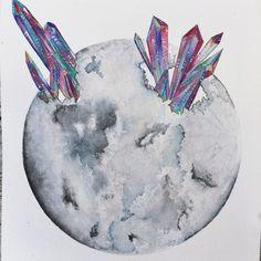 "watercolorsforlandlubbers:  Watercolor ""Healing Us Through the Moon"""