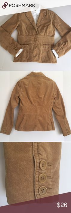 Tan Fitted Blazer Great transitional piece for fall. Fully lined jacket with 3 buttons at waist, fine corduroy, very soft. Flattering band detail at waist, button accents on sleeves, 2 functional pockets in front. Excellent used condition, small spot near hem, see photo 5. Brand is Jones New York, women's size small. Stored on hanger. Smoke-free home.  Shell 100% cotton  Lining 100% polyester Jones New York Jackets & Coats Blazers