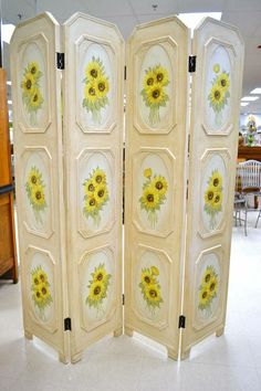 """4 Panel Composite Hand Painted Sunflower Privacy Screen - Very Pretty in Muted Tones - 15.75"""" W (each panel) x 70.5"""" H"""