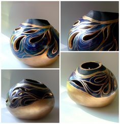 I used an amazing thick gourd from Welburn Gourd Farm and their GourdMaster transparent acrylics and liquid gold leaf to create this gourd art bowl. Normally I travel to the local gou… Decorative Gourds, Hand Painted Gourds, Deco Fruit, Liquid Gold Leaf, Gourds Birdhouse, Gourd Lamp, Pyrography, Wood Turning, Swirls