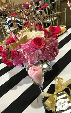 Kate Spade Birthday Flower Centerpieces via Pretty My Party Kate Spade Party, 40th Birthday Parties, Birthday Celebration, Baby Birthday, Birthday Ideas, Chanel Party, Flower Centerpieces, Birthday Centerpieces, Party Themes