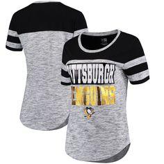 Pittsburgh Penguins 5th & Ocean by New Era Women's Space Dye Stripe Sleeves T-Shirt - Heather Black