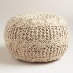 One of my favorite discoveries at WorldMarket.com: Taupe Heather Sweater Pouf perfect for by the fireplace #ad  #WorldMarketTribe