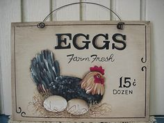 Hand Painted Wooden Signs Chickens | HP Hand Painted Fresh Eggs Chicken Rooster Sign | eBay