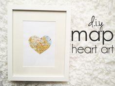 DIY Map Heart Art Possibly one for honeymoon & one for where we met or home? Diy Wall Art, Home Decor Wall Art, Framed Wall Art, Bedroom Decor, Diy Ombre, Heart Map, Puzzle, Travel Themes, Travel Destinations