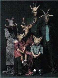 I would love to see a photo album of these strange pics. Just toss it out on the coffee table with some strange comments and see what happens when friends come over. Animal Masks, Animal Heads, Creepy Photos, Strange Photos, Arte Horror, Photomontage, Pet Portraits, Family Portraits, Dark Art