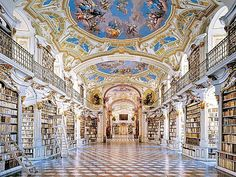 Benedictine Monastery Library, Admont, Austria Admont Monastery houses the biggest and oldest monastery library in the world. The library is a jewel of Baroque architecture, decorated with precious frescoes on the ceiling, impressive paintings and sculptu