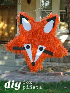 """Made this from a star pinata, very time consuming and I will never try again. But looked awesome for Hannah's """"What does the Fox say"""" party"""