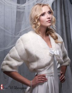 Pictured above bolero created from Ivory grooved faux fur - This elegant bolero jacket was designed for that special winter wedding, formal or adding a touch of faux fur fun for a night on the town. It is created with great care and time and your happiness with this garment is my goal.