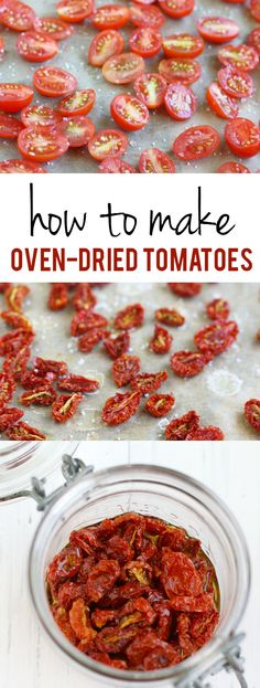 Tomato Recipes How to make oven-dried tomatoes. These are so easy to make and really add a lot of flavor to your recipes! A perfect way to use all your extra garden tomatoes! Oven Dried Tomatoes, Garden Tomatoes, How To Freeze Tomatoes, How To Preserve Tomatoes, Storing Tomatoes, Freezing Cherry Tomatoes, Oven Roasted Cherry Tomatoes, Canning Cherry Tomatoes, Preserving Tomatoes