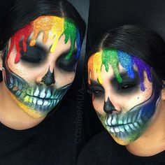 Thank you so much for all the love on my dripping rainbow skull!!!!❤️ I used all @maccosmetics chromacakes for the skull + coloured drips & @shopwearbeauty glitters for the sparkle✨ Tag me if you guys do this for Halloween I would love to see your recreations! ❤️ Thank you @badgalmakz for being my very patient model!