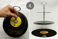 DIY vinyl record cake stand. Just ordered the metal rods from eBay and I have my records! (: Can't wait to make this stand, @Amy Kobayashi