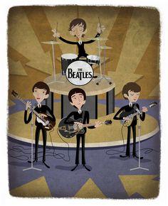 The Beatles on the Ed Sullivan Show. http://www.kerryillustrates.blogspot.com/2010/06/beatles.html