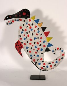 David Butler. Sea Horse. Paint on cut tin. Double-sided. Initialed.
