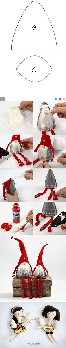 DIY photo tutorial ... felt Christmas ornament ... Santa with fun white beard ...