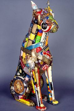 Dog made out of junk.