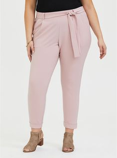 Shop mauve pink crepe self tie tapered pant from the latest Torrid collection Straight Leg Pants, Wide Leg Pants, Curvy Women Fashion, Plus Size Fashion, Paperbag Pants, Leg Pulling, Culotte Pants, Pixie Pants