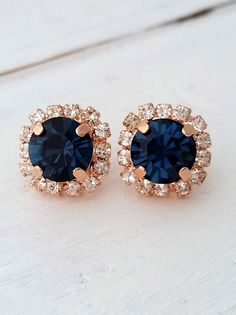 Rose gold Navy blue earrings,navy blue bridesmaid gifts,studs,Swarovski crystal stud earrings, Bridal earrings,navy blue stud earrings  Lovely and chic.  These earrings have so much sparkle that my camara cant catch.... they are so elegant . Perfect gift for bridesmaids or for any other occasion.  They are made of rose gold plated brass and Swarovski crystals, all set in prong setting.  Total earrings diameter is 12.5 mm.  AVAILABLE ALSO IN YELLOW GOLD PLATE ROSE GOLD PLATE, SILVER AND…