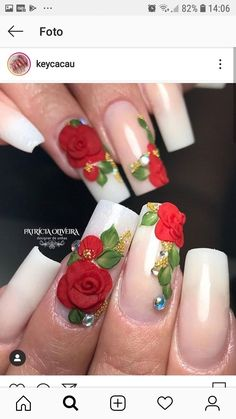 Red roses 3d Flower Nails, Rose Nails, Red Acrylic Nails, Glitter Nail Art, Bling Nails, 3d Nails, Nail Paint Shades, Rose Nail Design, Modern Nails