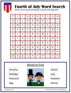 Free Fourth of July word search from Mixminder.com.