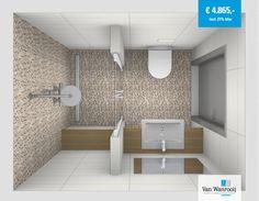 Luxe kleine badkamer met mozaïek natuursteen tegels. Meer info: http://vanwanrooijtiel.nl/product/kleine-badkamer-mozaiek-tegels/