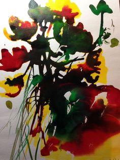 Aquarell Mischtechnik bunt abstrackt Bild Kunst Malerei Original Unikat Farbe