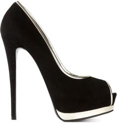 Giuseppe Zanotti Design platform pumps - I love the silver trim, it takes a pair of regular black heels to a whole new level.