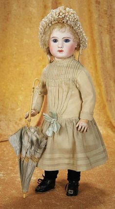 Beautiful French Bisque Bebe Steiner, Figure A, in Original Costume with Parasol 3000/4000