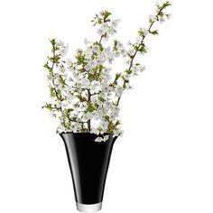 LSA Molten Vase Flare H28cm Black ($110) ❤ liked on Polyvore featuring home, home decor, vases, filler, black glass vase, black home decor, black vase, lsa international vase and lsa international