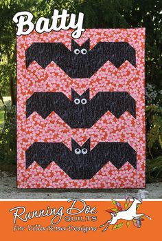 X finished size. By Running Doe Quilts for Villa Rosa.less than ⅛ yd Halloween Quilt Patterns, Halloween Quilts, Halloween Fabric, Halloween Design, Card Patterns, Quilt Patterns Free, Villa Rosa, Cute Bat, Orange Background