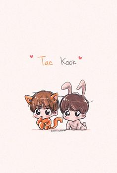 Taekook 💕💞 discovered by NothinGirl on We Heart It Vkook Fanart, Fanart Bts, Jungkook Fanart, Bts Chibi, Cool Art Drawings, Bts Drawings, Bts Taehyung, Bts Jimin, Taekook