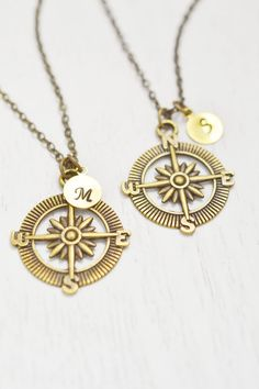 personalized compass necklace,nautical compass anchor,bff jewelry,graduation gift,navigator gift,couples necklace,long distance relationship