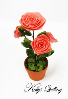 Paper quilling rose flowers pot in while by kellysquilling on etsy paper quilling rose flowers pot in red quilling by kellysquilling mightylinksfo