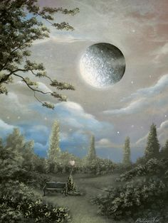 (A Dark Kind Of Love) Fantasy Fairytale Acrylic Landscape Painting By Philippe Fernandez. by philippesarts, via Flickr