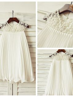 Sheath/Column Knee-length Flower Girl Dress - Chiffon Short Sleeve - GBP £38.49