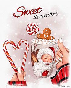 Christmas Makes, Christmas Art, Pretty Art, Cute Art, Fashion Illustration Chanel, Happy Birthday Wallpaper, New Year Illustration, Cute Christmas Wallpaper, Hello December